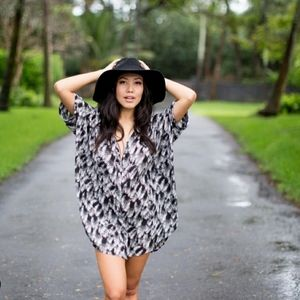 Acacia swimwear night palm Mombasa shirtdress P XS